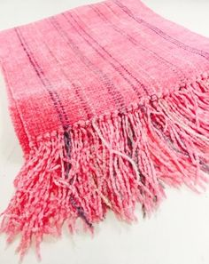 Woven Rayon Chenille Bubblegum Scarf by Claire Perrault