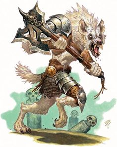 Albino gnolls are usually seen as outcasts due to their unusual colouring. Because of this they are mostly killed/eaten or abandoned at birth, leaving them to die or fend for itself.