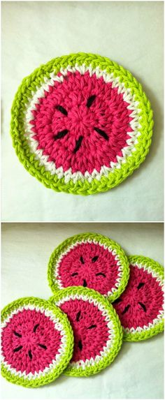 I have rounded up some of the best and interesting free crochet coaster patterns for your home!Watermelon Crochet Coasters