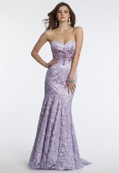 Camille La Vie Venetian Lace Strapless Prom Dress with Sweeping Train in Lilac