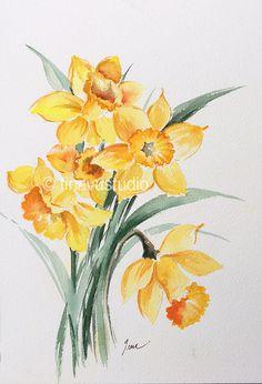 daffodil art daffodil painting original watercolor by TinaVuStudio