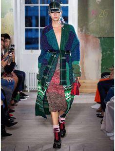 Cardigan coat from Burbbery. Wear it in a bold mix of patterns. #fashion #designer #womenswear #coat #ad