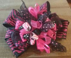 Pink and black zebra print Over the top/ boutique style hair bow/ big bow/baby hair bow/ baby headband/birthday bow/ smash cake . by SweetDesignsbyCindy on Etsy