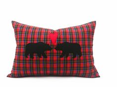 In Love Bears Pillow Cover Rustic Engagement by PillowThrowDecor