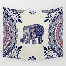 Wall Tapestry featuring Elephant Pink by Rskinner1122