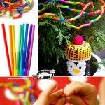 Christmas garland from drinking straws