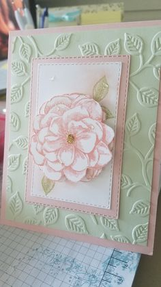 I used Powder Pink, Soft Sea Foam and Whisper White card stock. The stamps are from the April Paper Pumpkin and the embossing folder is a Sizzix. Stampin up's Layered Leaves would work as well. Pretty Cards, Cute Cards, Cards For Friends, Friend Cards, Embossed Cards, Stamping Up Cards, Paper Pumpkin, Paper Cards, Flower Cards
