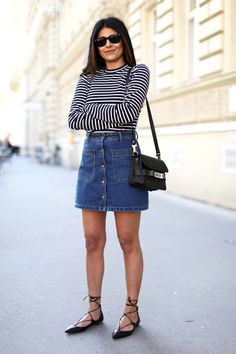 striped top and denim skirt