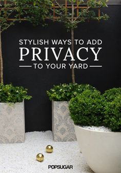 If you can't count on towering trees, tall fences, or hedges to shield you from neighboring windows — or just neighbors — when you're enjoying your yard, there's still hope! Privacy Landscaping, Backyard Privacy, Backyard Patio, Privacy Fences, Fencing, Privacy Trellis, Privacy Hedge, Landscaping Software, Garden Landscaping