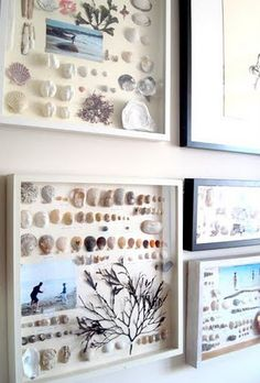 A Wall of Beach and Sea Memories in Frames - Coastal Decor Ideas Interior Design DIY Shopping Seashell Crafts, Beach Crafts, Diy Crafts, Crafts With Seashells, Seashell Projects, Paper Crafts, Vacation Memories, Memories Box, Diy Inspiration