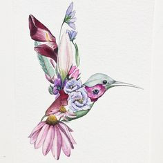 Finished this floral hummingbird #watercolor
