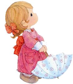 Precious moments girl with umbrella Precious Moments Quotes, Precious Moments Coloring Pages, Precious Moments Figurines, Cute Images, Cute Pictures, Sarah Key, Holly Hobbie, Tole Painting, Digi Stamps