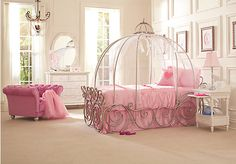 Disney Princess Carriage Bed with Pink Bedroom Accents