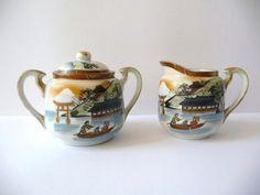 Cream and Sugar Porcelain Japanese Vintage by PortugueseWonders, $31.00