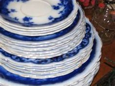 These blue and white dishes are called Flow Blue china.