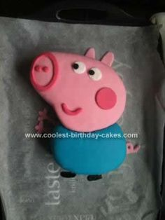 Homemade George Pig Cake Idea: I made this George Pig Cake Idea purely for experience only. I have previously made Princess Peppa pig picture number 20 is mine.  I made a sponge cake
