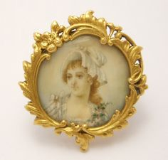 Silently, one by one, in the infinite meadows of heaven,Blossomed the lovely stars, the forget-me-nots of the angels Antique Jewelry, Vintage Jewelry, Enamel Jewelry, Miniature Portraits, Miniature Paintings, Vintage Glamour, Hand Painted, Painted Porcelain, Picture Frames