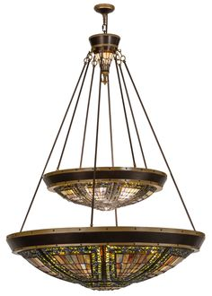 45 Inch W Fleur-de-lis Two Tier Inverted Pendant. 45 Inch W Fleur-de-lis Two Tier Inverted Pendant Theme:  LODGE ART GLASS GOTHIC Product Family:  Fleur-de-lis Product Type:  CEILING FIXTURE Product Application:  INVERTED PENDANT Color:  MODIFIED PER CUSTOMER REQ MAIN RING: COPPER VEIN Bulb Type: MED CNDL Bulb Quantity:  12 2 Bulb Wattage:  100 15 Product Dimensions:  66-185H x 45WPackage Dimensions:  NABoxed Weight:   lbsDim Weight:  NAOversized Shipping Reference:  NAIMPORTANT NOTE…