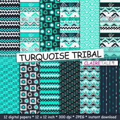 "Tribal digital paper: ""TURQUOISE TRIBAL"" with tribal patterns and tribal backgrounds, arrows, feathers, chevrons in turquoise by ClaireTALE on Etsy"