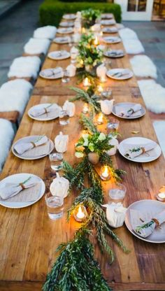 Adorable 44 Awesome Winter Table Decoration Ideas For A Romantic Dinner - Table Settings Thanksgiving Table Settings, Christmas Table Settings, Wedding Table Settings, Outdoor Thanksgiving, Thanksgiving Centerpieces, Diy Wedding Tables, Wedding Chairs, Christmas Decorations, Christmas Tables