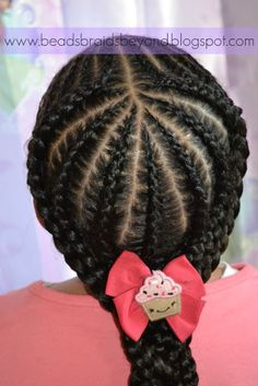 Art Beads, Braids and Beyond: Were Back - In Style! Small Cornrows into Large Cornrows just-for-the-kiddos (cornrow braid styles for kids) Lil Girl Hairstyles, Natural Hairstyles For Kids, Kids Braided Hairstyles, My Hairstyle, Toddler Hairstyles, Hairstyle Images, Hairstyles 2016, Short Hairstyles, Children Hairstyles
