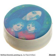 Bedtime fairytale, painting, mothersday sweet gift chocolate covered oreo  #motherhood, #maternity, #mother, #mothersday, #children, #nursery, #woman, #fairytale, #blue, #pink, #emerald, #green, #blueshades, #bluetones, #shadesofblue, #child, #littlegirl, #kids, #bedtime, #art, painting, #pastel, #twilight, #night, #appletree, #apple, #nighttime, #serenity, #fairy, #dreamlike, #dreamy, #night, #lullaby, #childhood, #mothersdaygift, #gift, #care, #cat, #goat, #softpastels, #dream, #nannygoat…