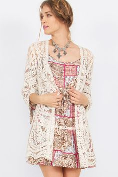 Sometimes life is simply lovely just like this kimono! The Simply Lovely Lace Kimono is sheer with embroidery for an antique lace feel with boho undertones. We'
