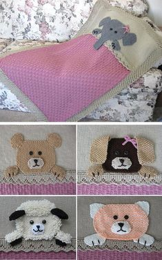 """Knitting Pattern for Who's Sleeping in My Bed Crib Blanket - Adorable baby blanket features a cuddly animal friend sleeping in their own lace edged """"bed"""". Choose from an elephant, bear, dog, cat, lamb, or monkey (not pictured) – all included in pattern. Worsted-weight yarn. Finished size is 32″ x 45″."""