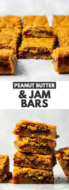 Peanut Butter & Jam Bars – Deliciously soft and chewy peanut butter bars that are loaded with flavour, and have a generous layer of jam in the centres. These bars are perfect for PB&J lovers! Peanut Butter Recipes, Banana Bread Recipes, Vegan Recipes, Cooking Recipes, Bar Recipes, Dessert Cake Recipes, Fun Desserts, Fruit Dessert, Dessert Bars