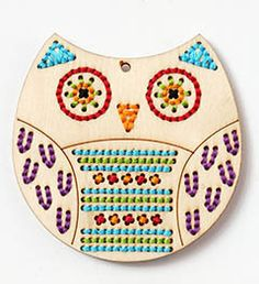 Bucilla Handmade Charlotte Wood Stitchables - Owl. Quick and easy wood stitchery projects that are great for personalizing gifts. Embellish journals, cards, pre