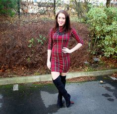 Ro's Tinted: OOTD: Tartan Dress And Over The Knee Boots http://www.rostinted.com/2014/12/ootd-tartan-dresses-and-over-knee-boots.html