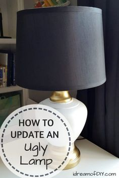 diy lamp How To Update An Ugly Old Lamp. Do you have an ugly old lamp lying around Give it a lamp makeover! Learn how to DIY your own Lamp Update. Spray Paint Ceramic, Spray Paint Lamps, Spray Paint Projects, Spray Paint Furniture, Paint Lampshade, Flower Lampshade, Painting Furniture, Chalk Paint, Diy Projects