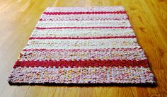 Twined Rag Rug Pink Ivory Cream White by CottonBirdRagRugs on Etsy
