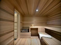 Ski Chalet With A Modern Interior Design. happens to have a big sauna to Spa Interior, Baths Interior, Home Interior Design, Sauna Design, Cabin Design, Design Hotel, House Design, Sauna Steam Room, Sauna Room
