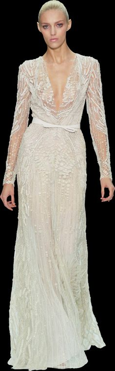 gorgeous elie saab textured off-white long-sleeve gown, semi-sheer sleeves (Fall 2012) - perfect type of sleeve for adding onto a wedding dress!