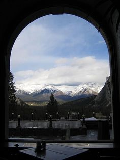 Fairmont Hotel view, Banff, Canada. Have to see if we can find this spot for KB to take a picture