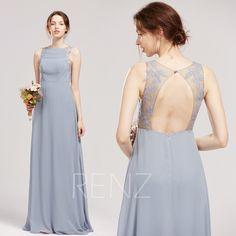H896 Prom Dress Dusty Blue Bridesmaid Dress Halter Chiffon Party Dress long Slit Sheath Formal Dress Fitted A-line Wedding Dress