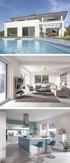 Luxus Haus Mit Garage, Pool U0026 Walmdach Architektur   Fertighaus Bauen Ideen  Einfamilienhaus Moderne WeberHaus