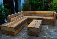 I clad the bench in old scaffold boards that would have wound up in a landfill. It never gets old giving a material anew lease of life. Pallet Garden Furniture, Diy Furniture Couch, Garden Sofa, Reclaimed Furniture, Diy Outdoor Furniture, Diy Sofa, Outdoor Decor, Deck Seating, Backyard Seating