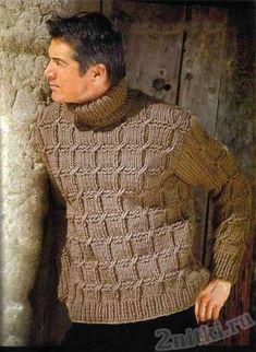Коричневый мужской пуловер с воротом