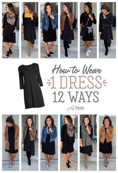 How to Wear 1 Black Dress 12 different Ways! A black dress is perfect for a capsule wardrobe; it's easy to dress up or down and it can be styled for any occasion. Fashion Mode, Work Fashion, Fashion Looks, 80s Fashion, Korean Fashion, Petite Fashion, Style Fashion, Fashion Quiz, Rockabilly Fashion