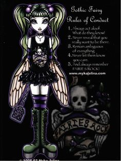 Sadie's Rules of Conduct Gothic Skull Faery by Myka Jelina Fairy Art Postcard | eBay