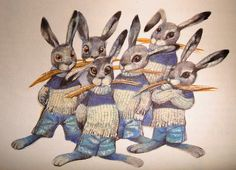 'Hares' Illustration by Karel Franta [from 'Animal Fairy Stories' by Alena Benesova - Cathay Books 1984]