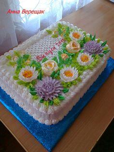 Фотографія Baby First Birthday Cake, Dad Birthday Cakes, Cake Icing Tips, Buttercream Cake, Pretty Cakes, Beautiful Cakes, Slab Cake, Fiesta Cake, Cake Piping