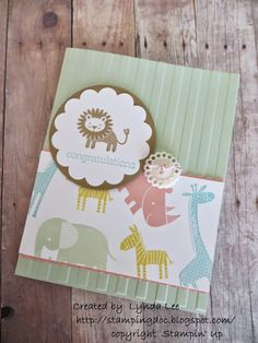 Zoo Babies - make your own DSP; Stampin' Up Zoo Babies; Baby card - Zoo Babies – make your own DSP; Stampin' Up Zoo Babies; Card Making Inspiration, Making Ideas, Stampin Up Karten, New Baby Cards, Stamping Up Cards, Baby Shower Cards, Baby Kind, Kids Cards, Craft Cards