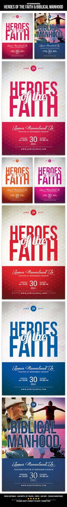 Heroes of the Faith & Biblical Manhood Church Flyers