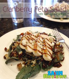 Cranberry Feta Salad with Grilled Chicken - For days when you don't feel like a boring salad. - SahmReviews.com