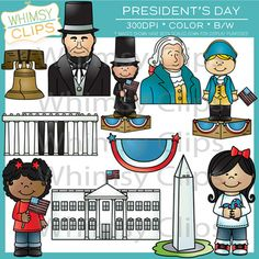 The President's Day clip art set contains 22 image files, which includes 11 color images and 11 black and white images in png and jpg. All images are 300dpi for better scaling and printing. $