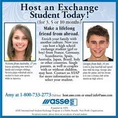 Host a foreign exchange student and make a lifelong bond with a friend from abroad. Enrich your family for 3, 5 or 10 months with the ASSE International Student Exchange Program.