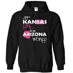 (Kansas001) Just A Kansas Girl  ⃝ In A Arizona WorldIn a/an name worldt shirts, tee shirts